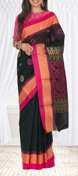 Black, Pink & Orange Semi Silk Cotton Saree