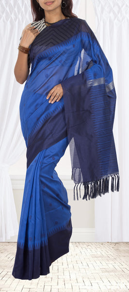 Royal Blue Semi Jute Silk Saree