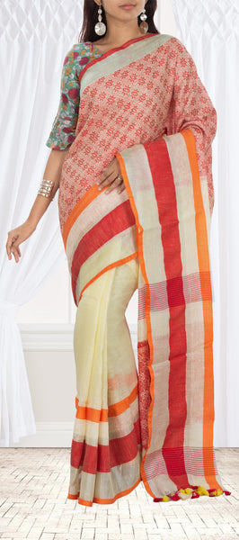 Lemon Yellow and Dark Pink Semi Linen Saree