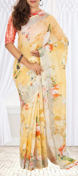 Yellow and White Linen Saree