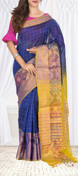 Blue & Yellow Semi Silk Cotton Saree