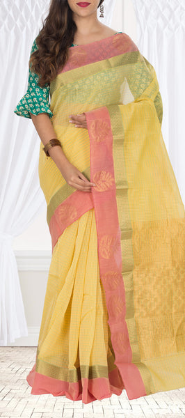 Lemon Yellow & Peach Semi Silk Cotton Saree