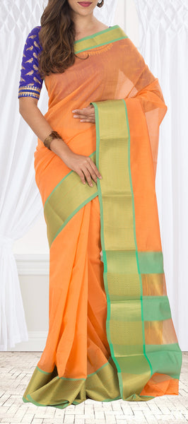 Pale Orange Semi Silk Cotton Saree