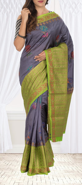 Grey & Green Pure Tussar Silk Saree