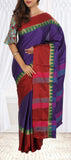 Purple & Red Semi Tussar Saree