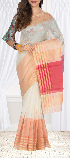 White & Peach Silk Cotton Saree