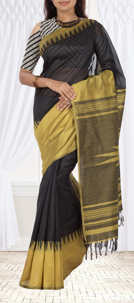 Black & Musk Green Semi Jute Silk Saree
