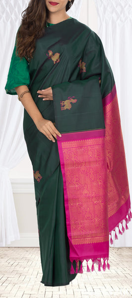 Dark Green & Pink Kanchipuram Handloom Silk Saree With Pure Zari