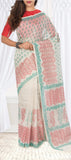 Cream Printed Semi Silk Cotton Saree