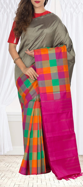 Grey & Pink Pure Kanchipuram Handloom Silk Saree With Pure Zari