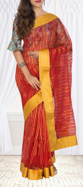 Red & Yellow Pure Tussar Saree