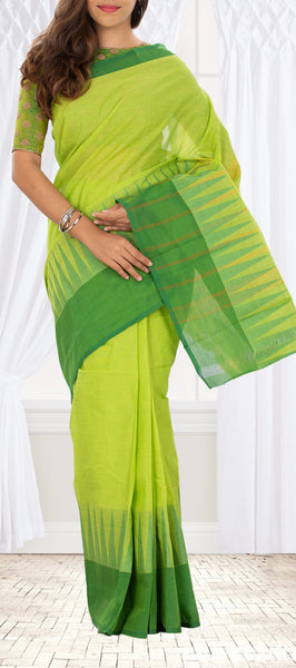Parrot Green Simple Cotton Saree