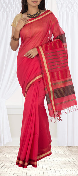 Cherry Red Maheshwari Cotton Saree