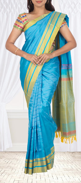 Deep Sky Blue Soft Silk Saree