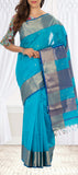 Turquoise Blue Maheshwari Cotton Saree