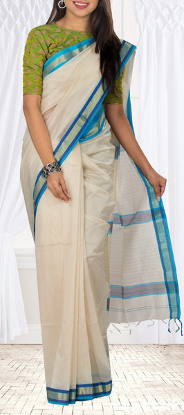 Cream & Blue Maheshwari Cotton Saree