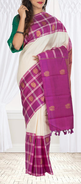 White & Purple Kanchipuram Handloom Silk Saree With Pure Zari