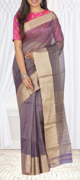 Mauve Maheshwari Cotton Saree