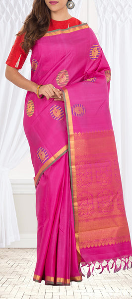 Pink Pure Kanchipuram Handloom Silk Saree with Half Fine Zari