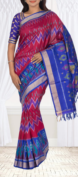 Maroon Red & Blue Soft Silk Saree