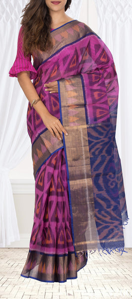 Purple Silk Cotton Saree