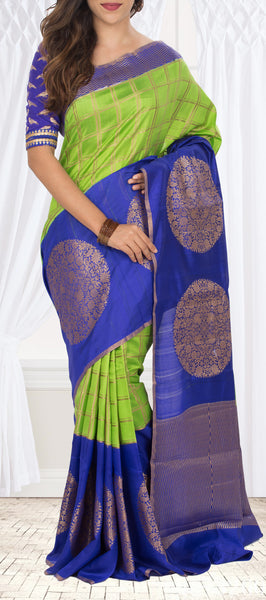 Parrot Green & Dark Blue Pure Tussar Silk Saree