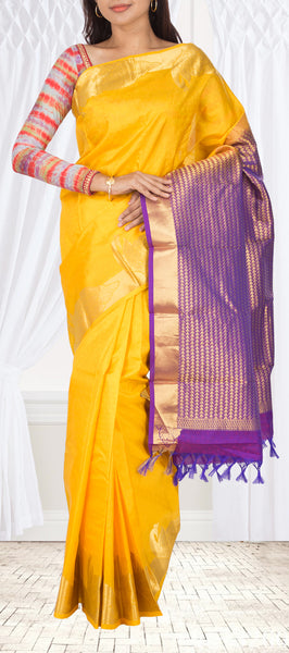 Bright Yellow Lightweight Kanchipuram Handloom Silk Saree