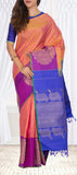 Onion Pink, Purple & Blue Pure Kanchipuram Handloom Silk Saree With Pure Zari