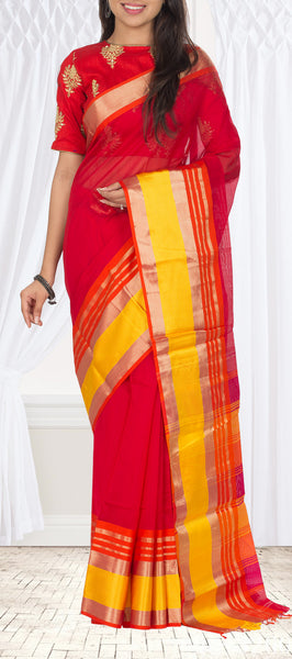 Kumkum Red Maheshwari Cotton Saree