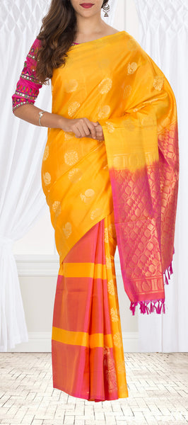 Mango Yellow and Pink Soft Silk Saree