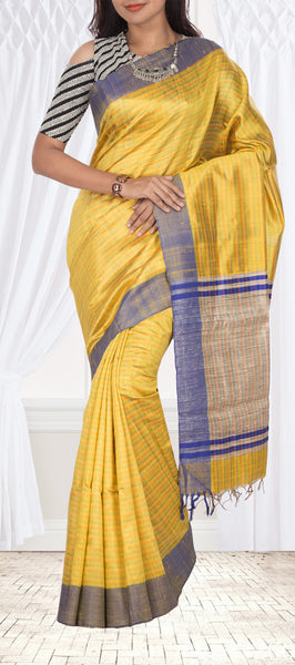 Yellow Jute Silk Saree