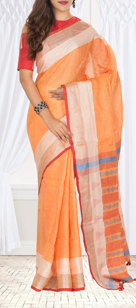 Saffron Orange Linen Saree