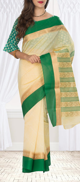 Cream & Green Embossed Semi Silk Cotton Saree