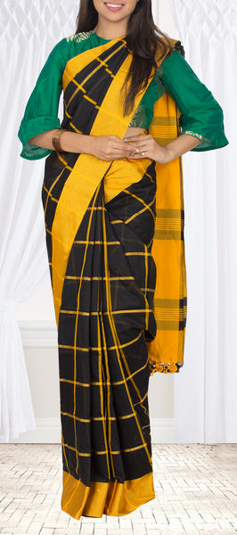 Black & Yellow Semi Maheshwari Cotton Saree