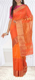 Orange Maheshwari Cotton Saree