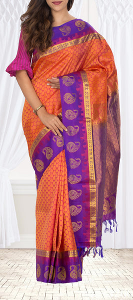 Red & Purple Lightweight Kanchipuram Handloom Silk Saree