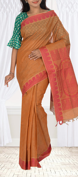 Light Brown & Pink Embossed Cotton Saree