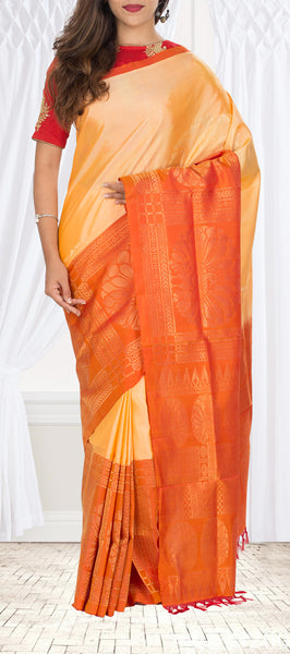 Sandalwood Cream & Orange Soft Silk Saree
