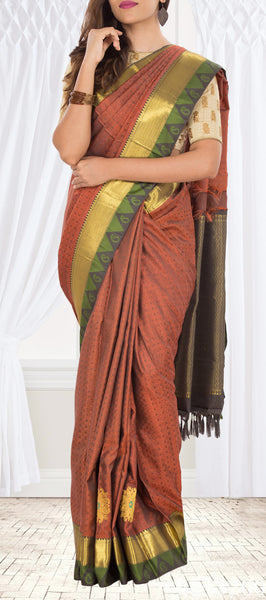 Rust Brown & Olive Green Pure Kanchipuram Handloom Silk Saree