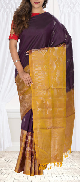 Dark Nut Brown & Mustard Soft Silk Saree