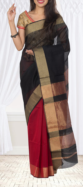 Black & Red Maheshwari Cotton Saree
