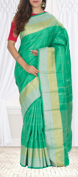 Coral Green Pure Kanchipuram Handloom Silk Saree With Half-fine Zari