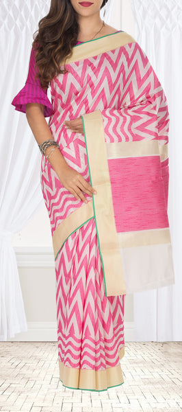 White & Pink Semi Silk Cotton Saree