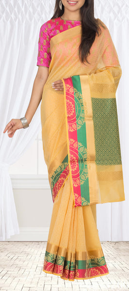 Yellow Semi Silk Cotton Saree