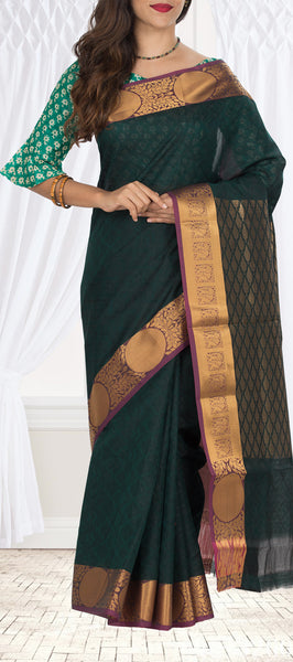 Dark Green & Purple Embossed Semi Silk Cotton Saree