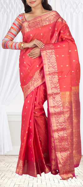 Bright Pink Lightweight Kanchipuram Handloom Silk Saree