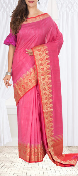 Bright Pink Semi Jute Silk Saree