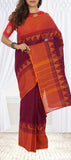 Maroon & Orange Summer Cotton Saree