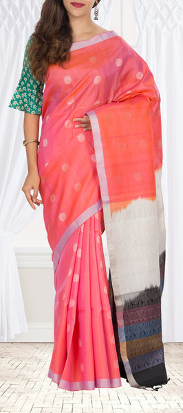 Peach-Pink, Cream & Black Soft Silk Saree