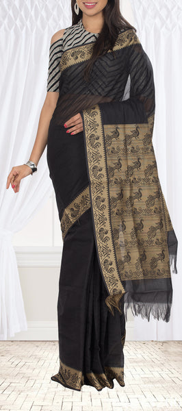 Black Embossed Cotton Saree